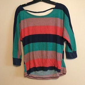 Splendid open back 3/4 sleeve striped tee size M
